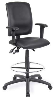 B1647 Leather Drafting Chair, B1646 Leather Drafting Chair Adj Arms