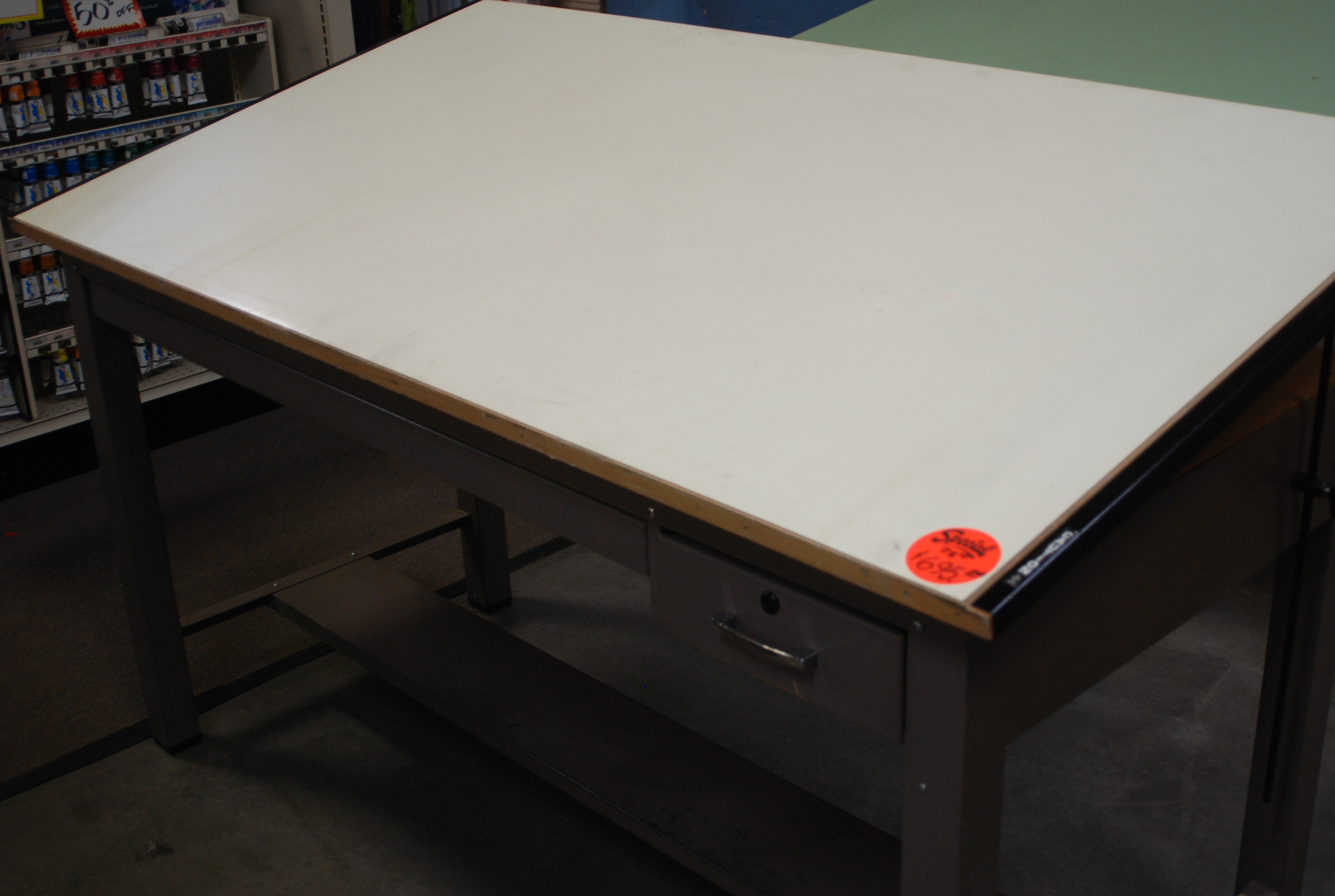 Used drafting tables hoppers drafting furniture a pre rented 4 post metal mayline ranger drafting table with borco board cover top size is 375 x 72 includes center drawer and tool drawer malvernweather Gallery