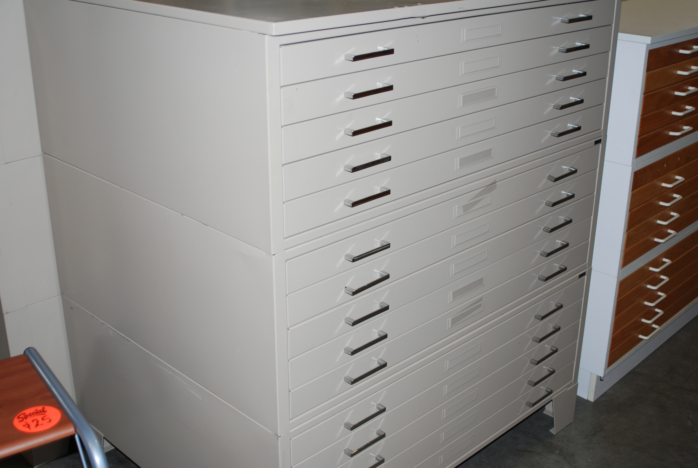 Used flat files roll files plan racks hoppers drafting furniture used set of flat files set of three 3 5 drawer mayline metal flat files with base drawers will hold up to 30 x 42 drawings malvernweather Choice Image