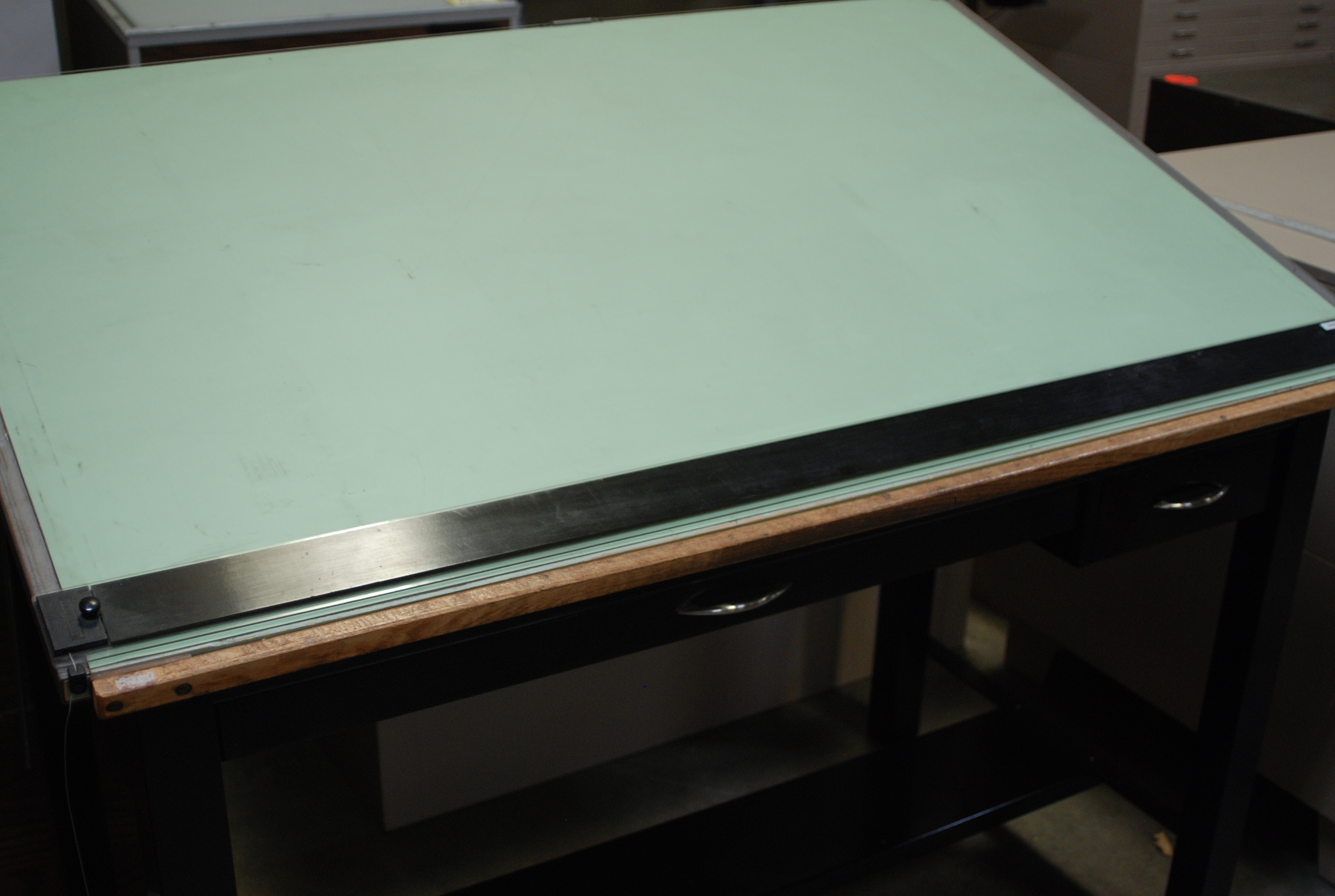 Edge A Reconditioned 4 Post Metal Drafting Table With Center Drawer Tool And Mayline Straightedge Top Size Is 37 5 X 60